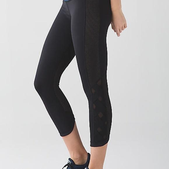 28943c698 lululemon athletica Pants - Lululemon Black Capri Mesh Criss Cross Leggings  6